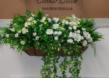 Artificial Wall Manger ,  White, Greenery Mixed Flowers